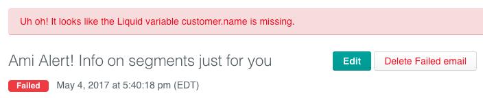 error message on draft