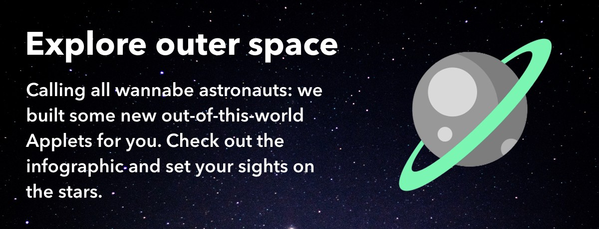 Outer space and IFTTT Applets and infographic
