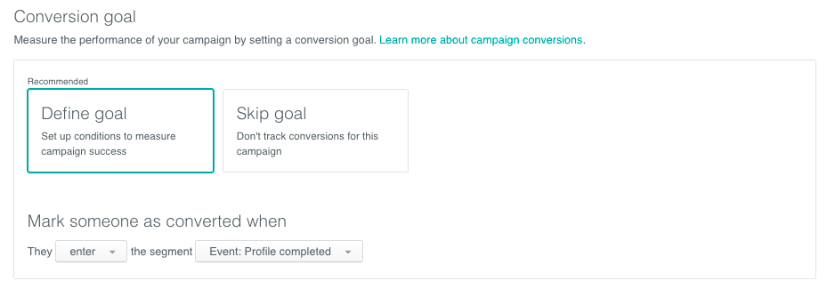 Define conversion goal
